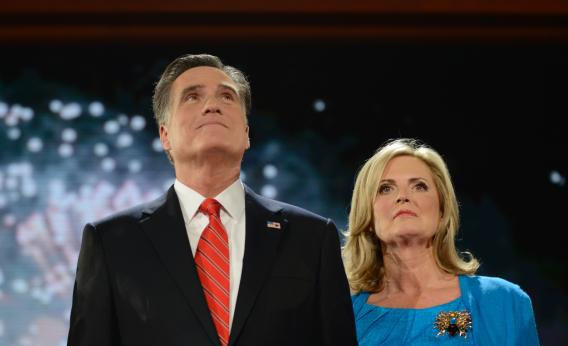Republican presidential candidate Mitt Romney and wife Ann stand onstage at the Tampa Bay Times Forum in Tampa, Fla., on Aug. 30, 2012, on the final day of the Republican National Convention
