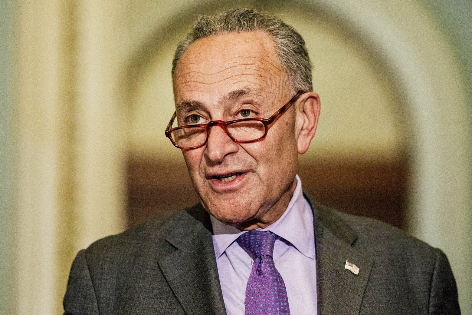 Senate Minority Leader Chuck Schumer speaks to members of the press after meeting with Supreme Court nominee Brett Kavanaugh on Tuesday in Washington.