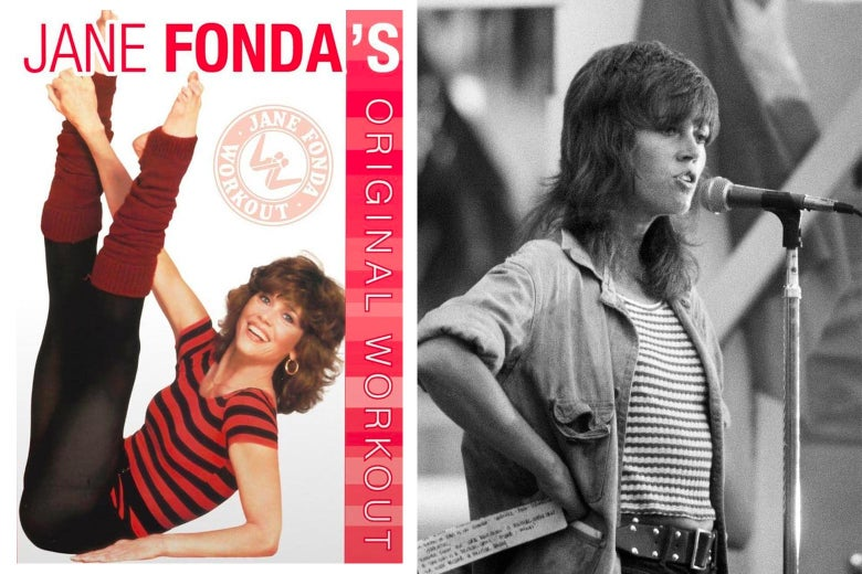 Side by side of Jane Fonda's workout VCR and Jane Fonda speaking as an activist