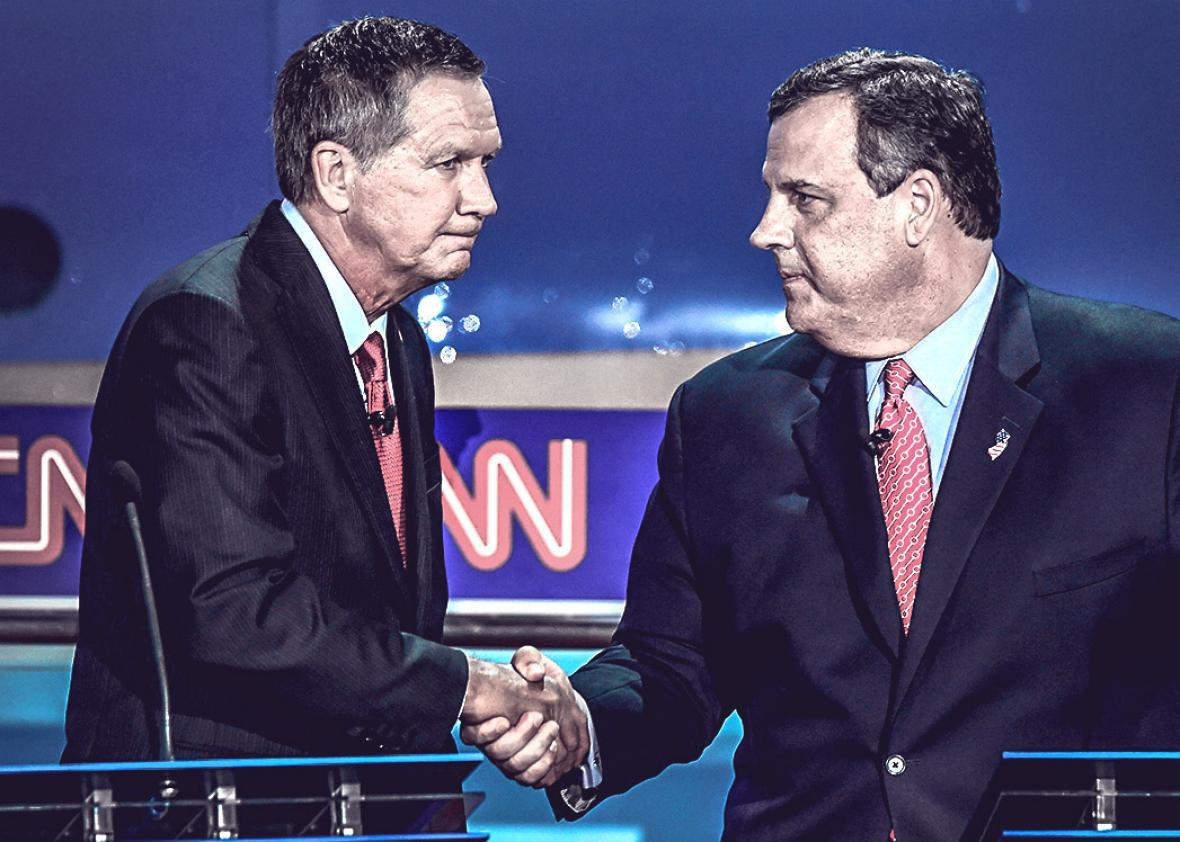 John Kasich (L) shakes hands with New Jersey Gov. Chris Christie,John Kasich (L) shakes hands with New Jersey Gov. Chris Christie.