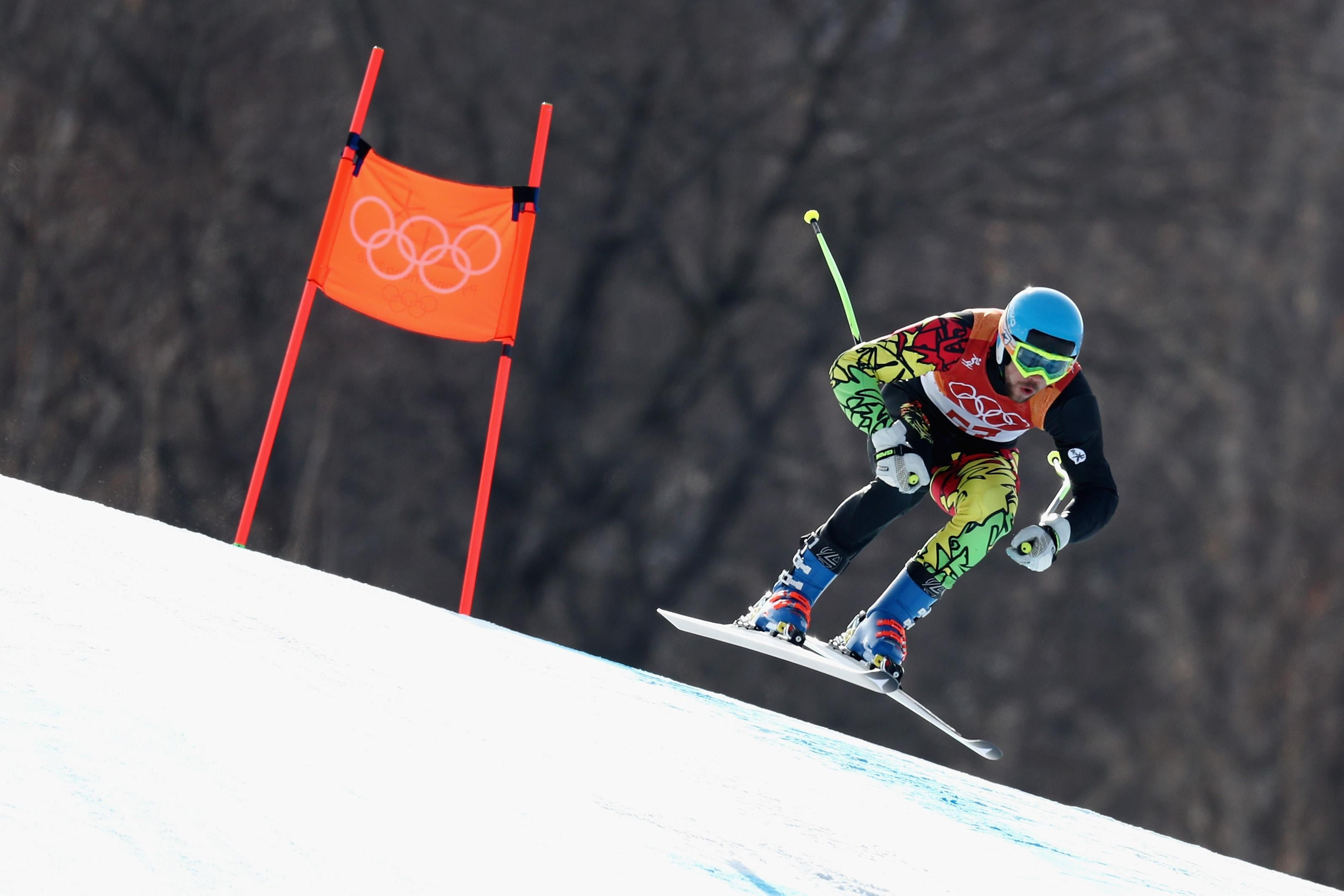 PYEONGCHANG-GUN, SOUTH KOREA - FEBRUARY 15:  Ivan Kovbasnyuk of Ukraine makes a run during the Men's Downhill on day six of the PyeongChang 2018 Winter Olympic Games at Jeongseon Alpine Centre on February 15, 2018 in Pyeongchang-gun, South Korea.  (Photo by Al Bello/Getty Images)
