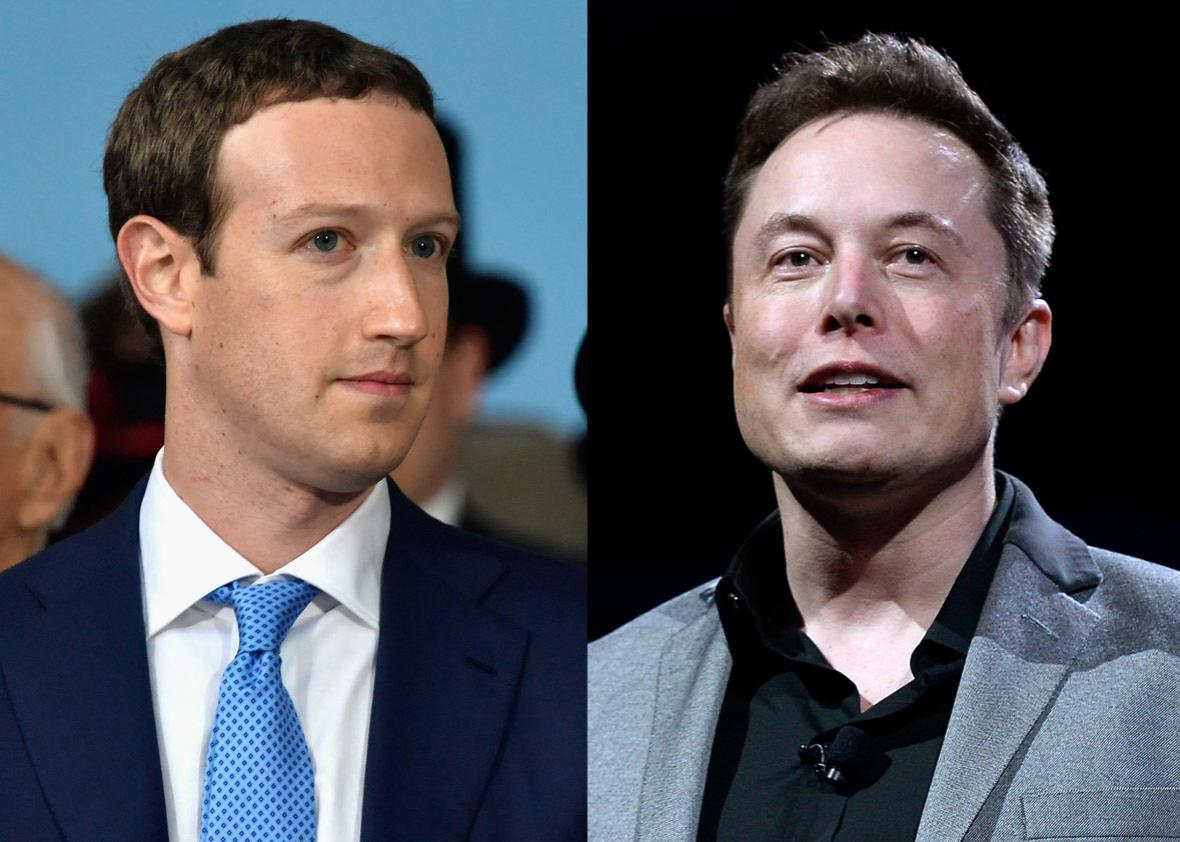 Facebook Founder and CEO Mark Zuckerberg and Elon Musk, CEO of Tesla