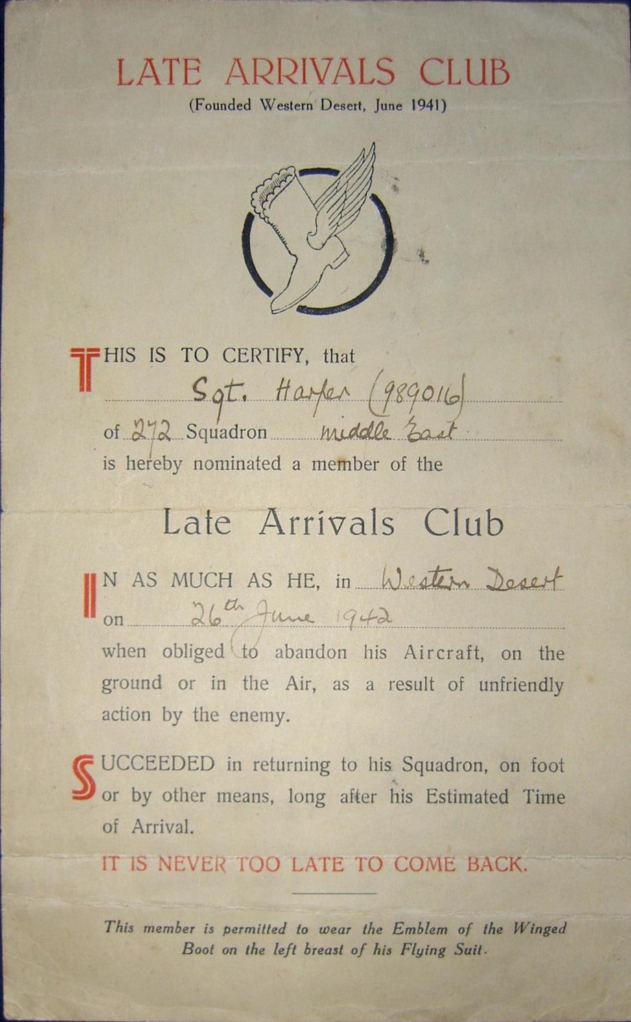 Late Arrivals Club certificate