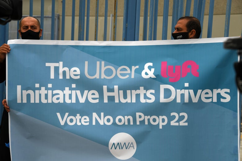 Ride-share drivers demonstrate against ride-share companies Uber and Lyft.