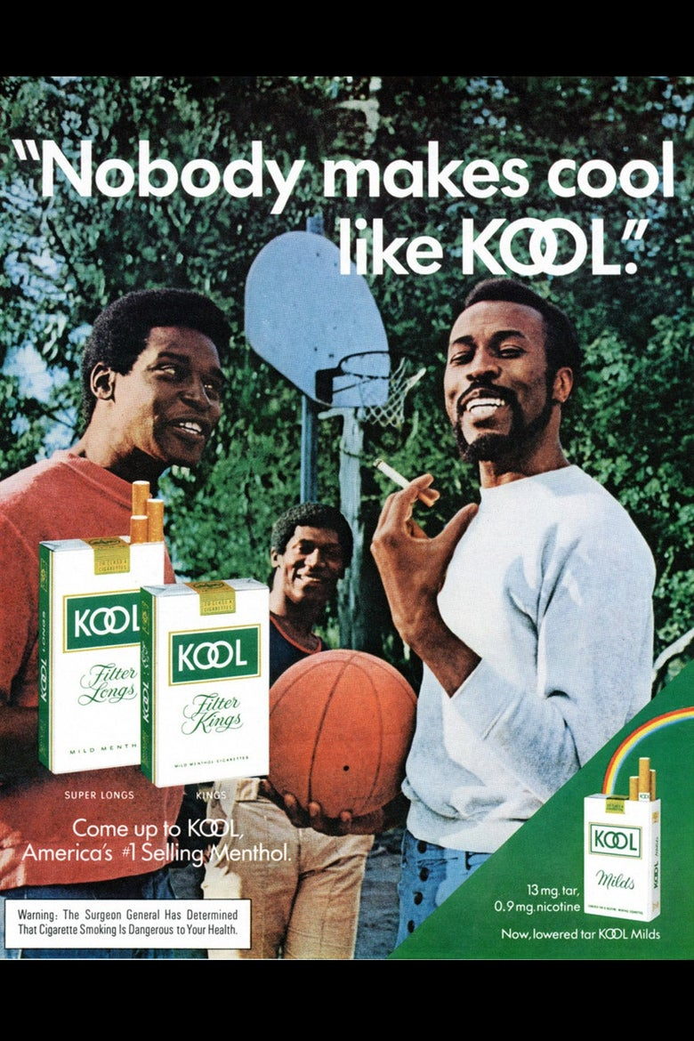 Three men in a basketball-themed ad for KOOL cigarettes.