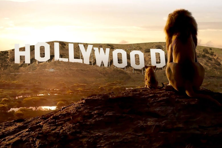 Mufasa and Simba sit on a rock overlooking the Hollywood sign.