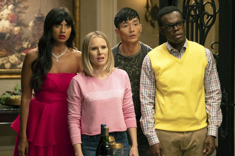 Jameela Jamil, Kristen Bell, Manny Jacinto, and William Jackson Harper looking consternated in a still from The Good Place.