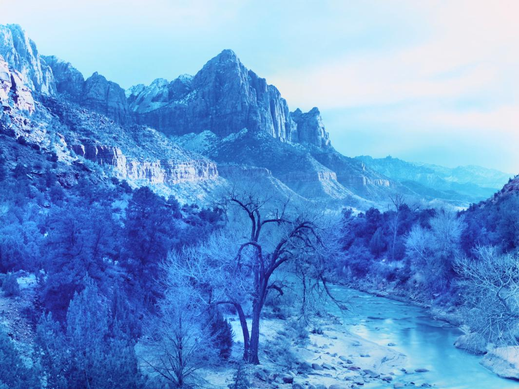 Winter Storm in Zion Canyon, Zion, Utah, 2013.