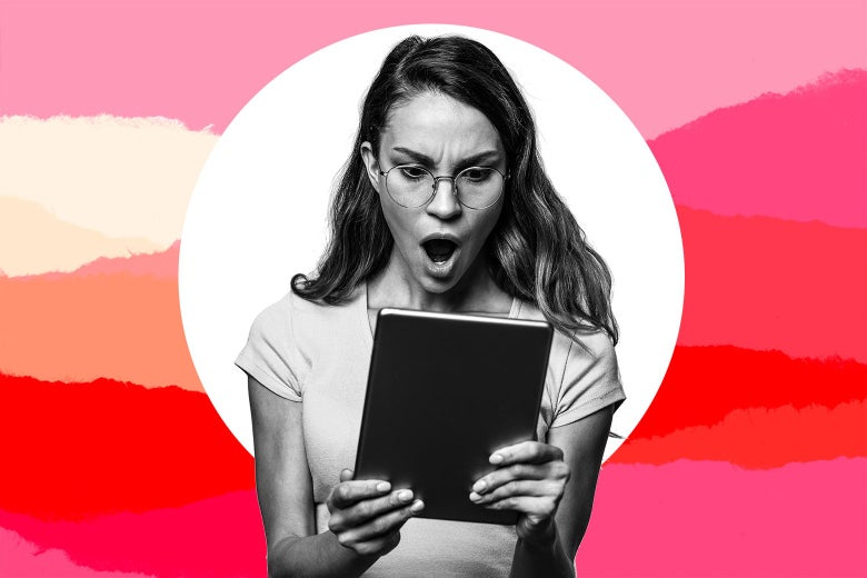 Woman with mouth agape looks shocked at what she's seeing on an iPad.