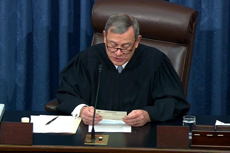 John Roberts reads a question from the chair of the Senate.