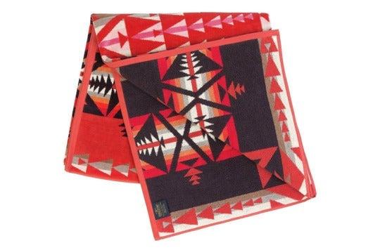 Red patterned Pendleton towel.