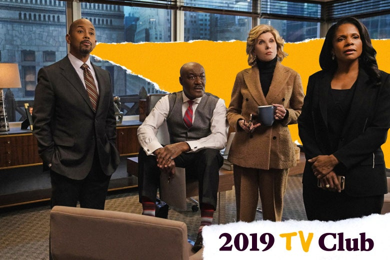 Christine Baranski, Delroy Lindo, Michael Boatman, and Audra McDonald in a scene from The Good Fight