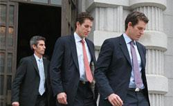 Cameron (center) and Tyler Winklevoss (right). Click image to expand.