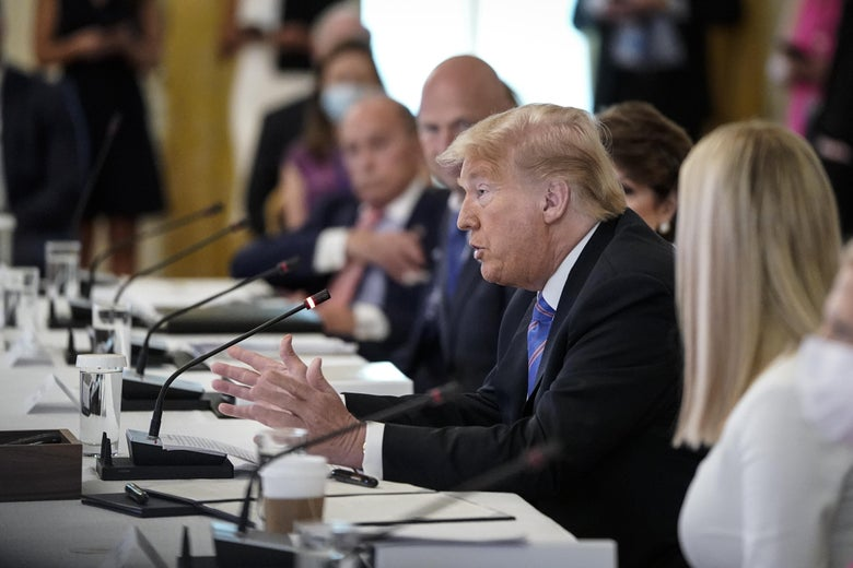Donald Trump not wearing a mask in the East Room of the White House on June 26, 2020 in Washington, DC.