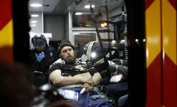 A patient in an ambulance