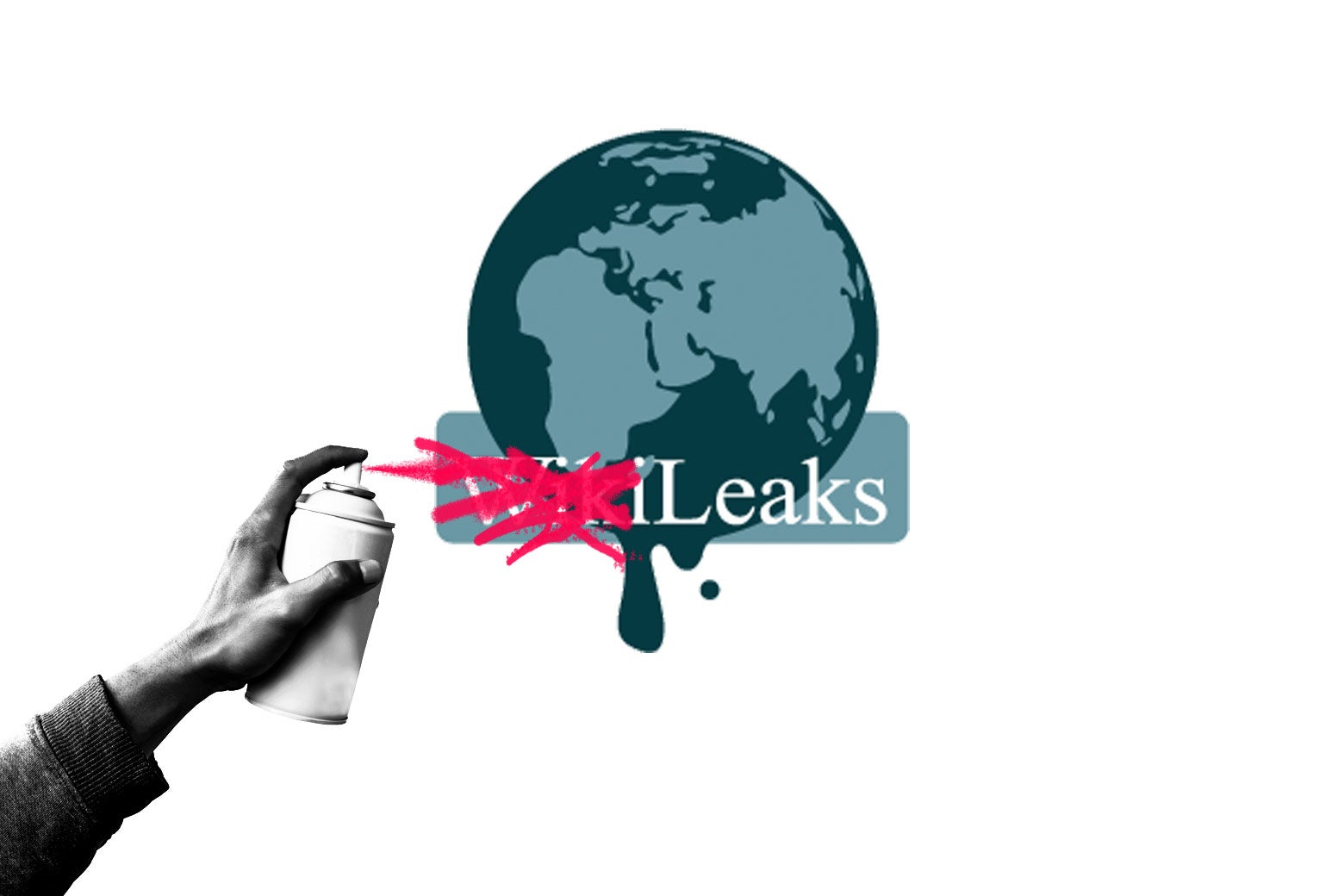 "The WikiLeaks logo, with the ""Wiki"" part being spray-painted out."