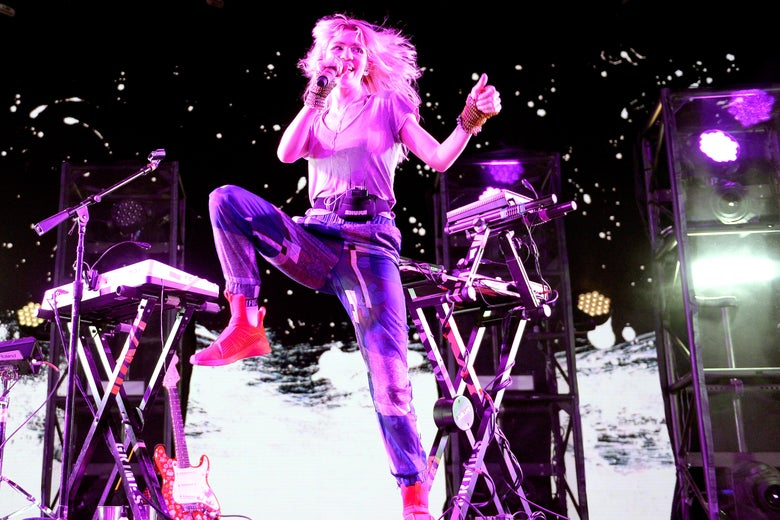 Grimes performs onstage at Coachella in 2016
