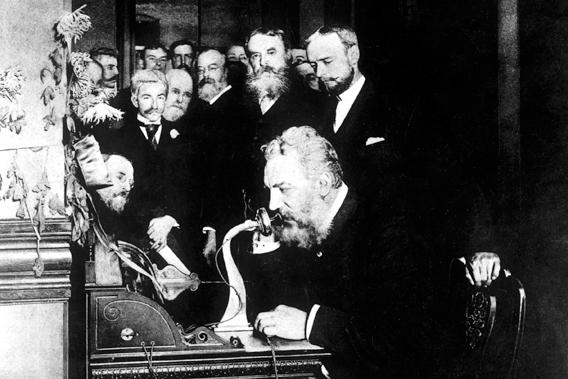In a hotel room in Boston on March 11, 1876, Alexander Graham Bell succeeded in making the first telephone call with his assistant Tom Watson after long, experimental night sessions.