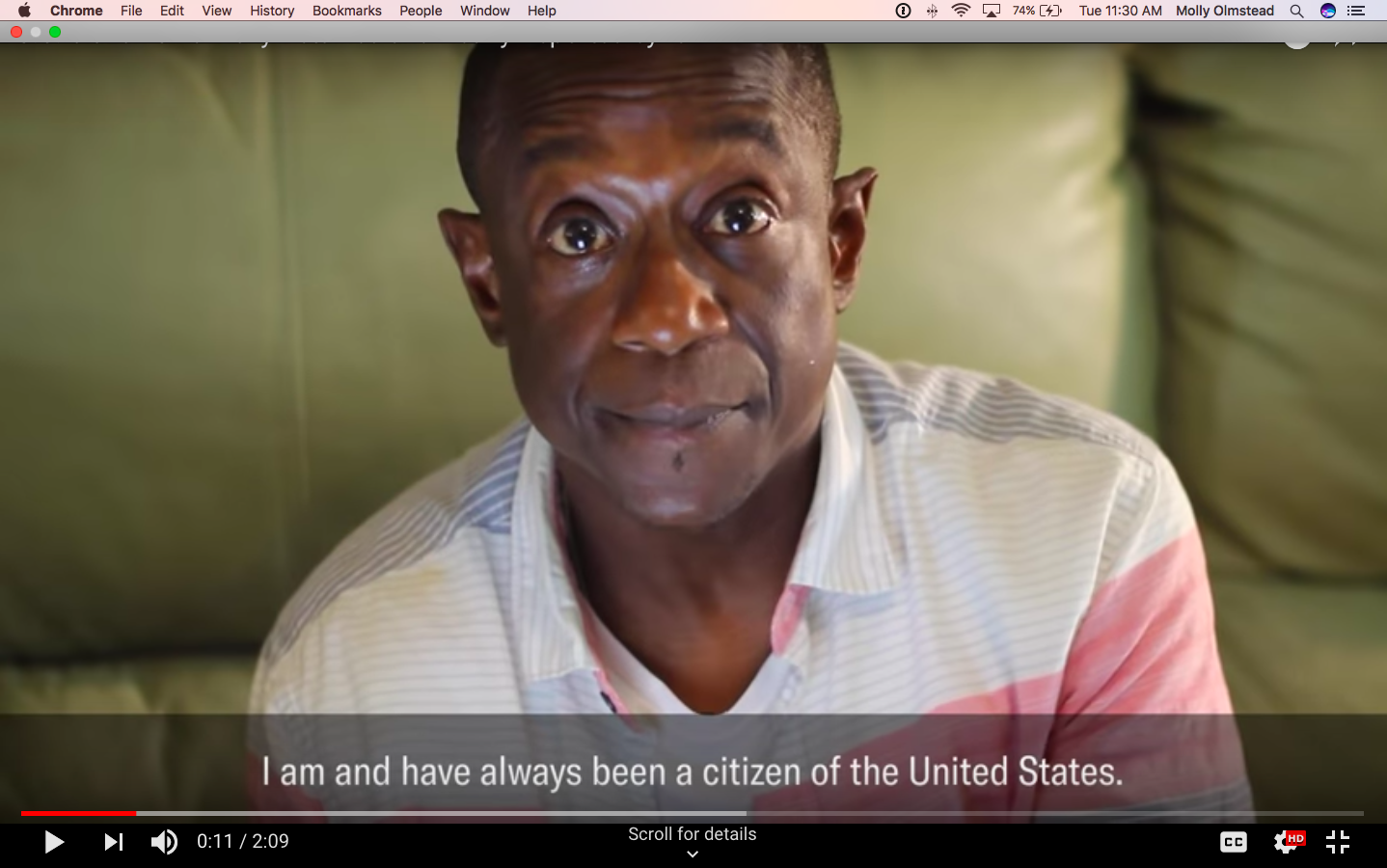 A screengrab from an ACLU video about the case. Brown looks into the camera earnestly.