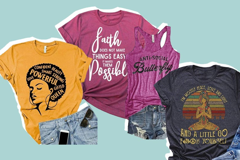 A bunch of clothing items—mostly novelty T-shirts—made by Pukemark.