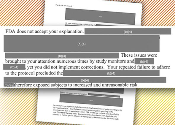 A redacted letter sent by the FDA to a clinical investigator in 2012.