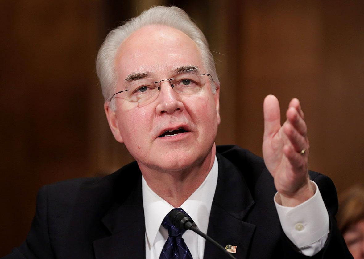 Rep. Tom Price testifies before the Senate Health, Education, Labor and Pensions Committee on his nomination to be Health and Human Services secretary in Washington, U.S., January 18, 2017.