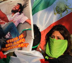 An Iranian woman demonstrator. Click image to expand.