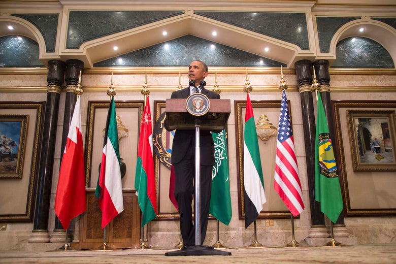 US President Barack Obama delivers a speech following a US-Gulf Cooperation Council Summit in Riyadh, on April 21, 2016. US President Barack Obama pledged unity with Gulf states in the fight against jihadists, and backed his allies' concerns about Iran, emphasising cooperation despite tensions in Gulf-US ties.     / AFP / Jim Watson        (Photo credit should read JIM WATSON/AFP/Getty Images)