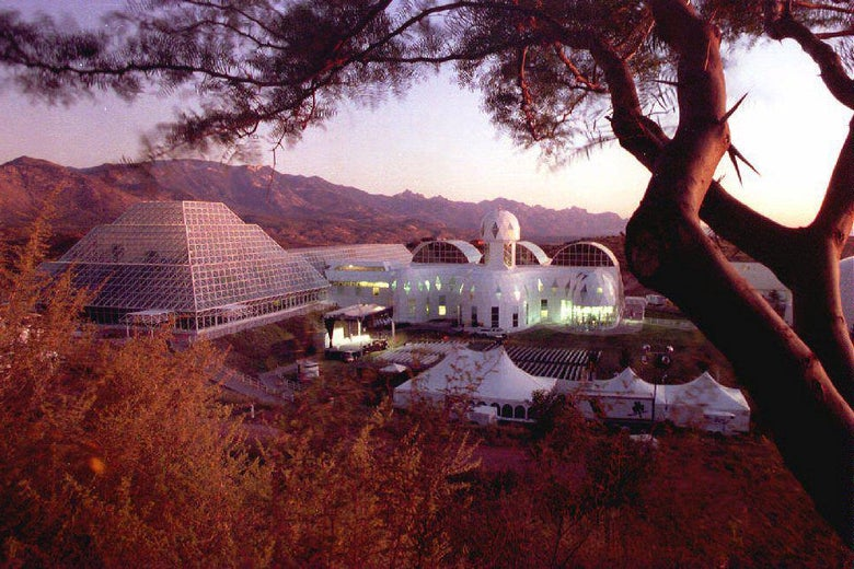 The Biosphere 2 research facility sits nestled in the foothills of the Catalina Mountains north of Tuscon, Arizona, Sept. 25, 1993.