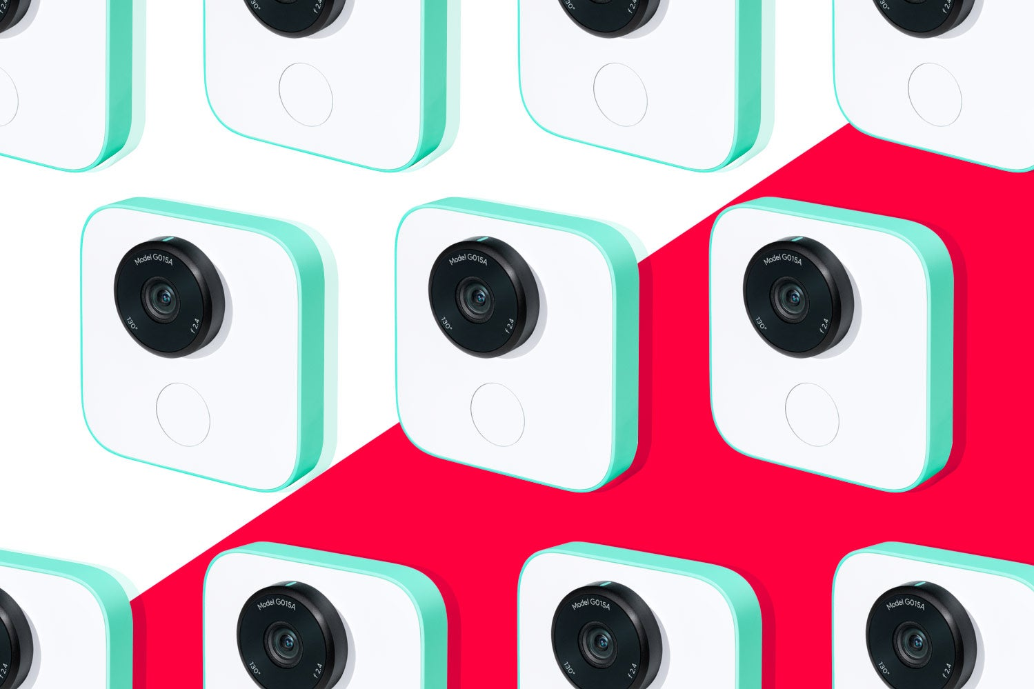 Photo illustration: cascading images of Google Clips against a red and white background.