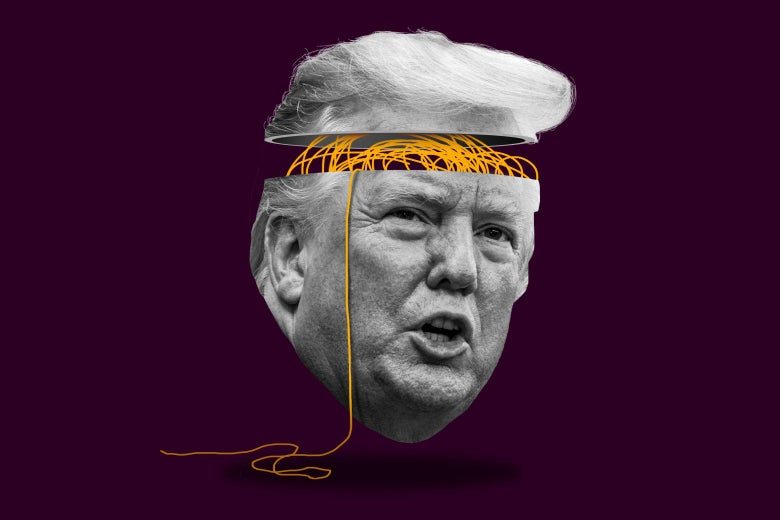 Illustration of Donald Trump with his head open and a pile of string spilling out.