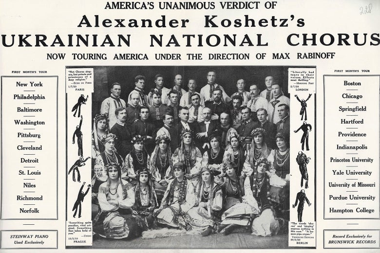 "Archival photo of a newspaper clipping: ""America's Unanimous Verdict of Alexander Koshetz's Ukrainian National Chorus: Now Touring America Under the Direction of Max Rabinoff"""