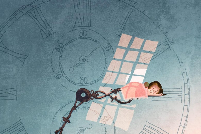 An illustration of a child sleeping as light comes in through the window.