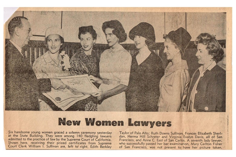 """A newspaper clipping with the headline """"New Women Lawyers."""""""