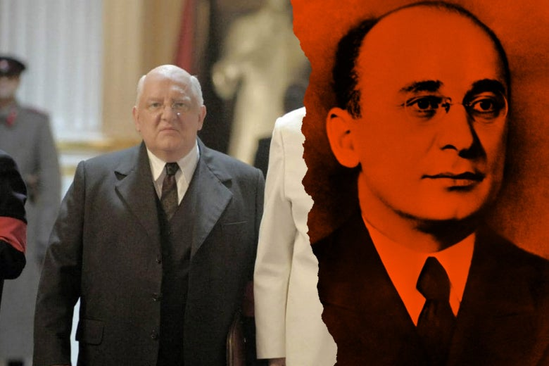 At left: Simon Russell Beale as Lavrentiy Beria in the film. At right: real Lavrentiy Beria.