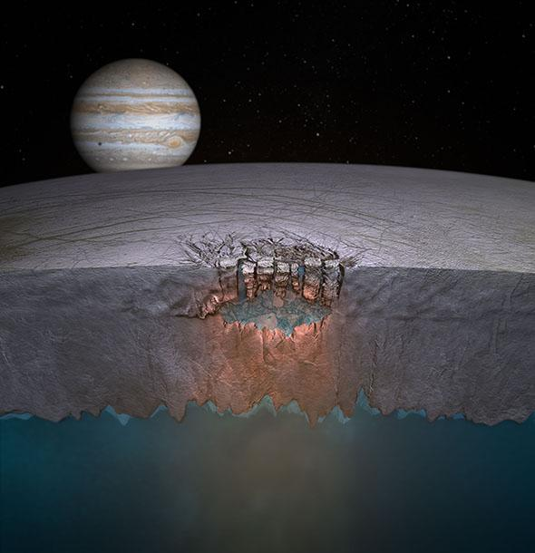 An artist's rendering of a near-surface pocket of water on Europa.