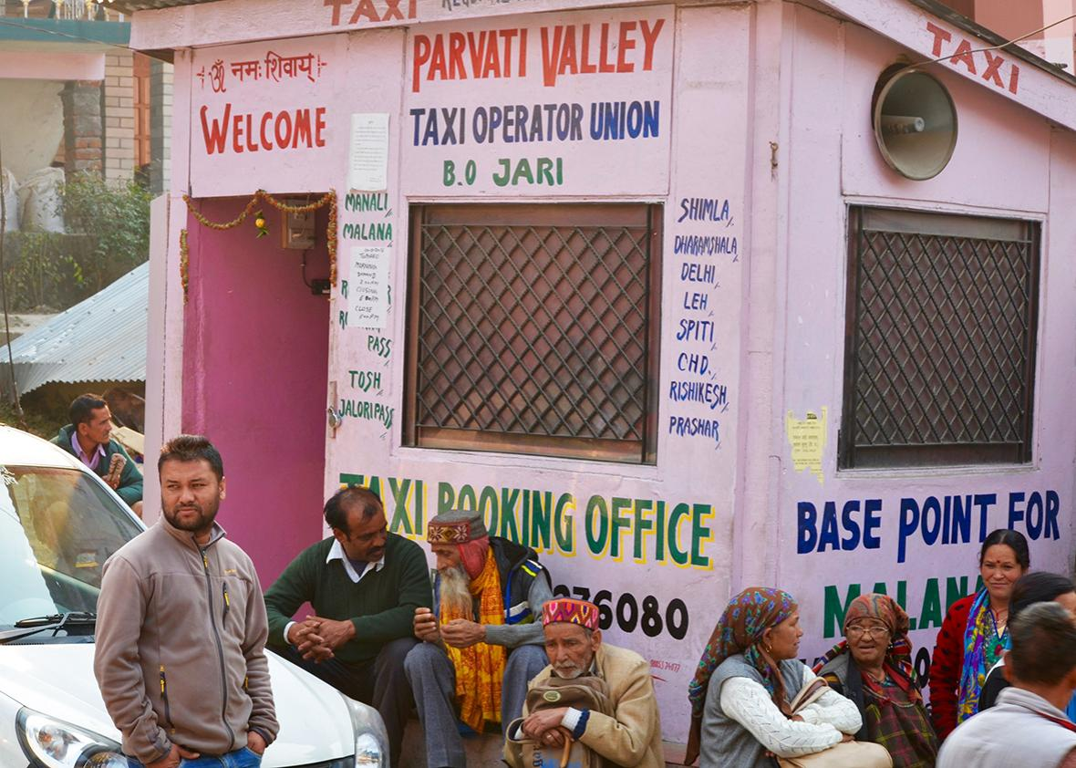 A taxi stand in Kasol, one of the region's main tourist hubs.