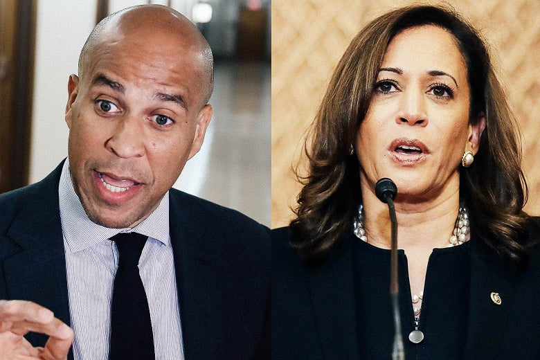 Sens. Cory Booker and Kamala Harris.