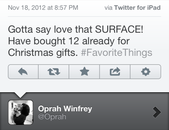 Oprah Surface tweet