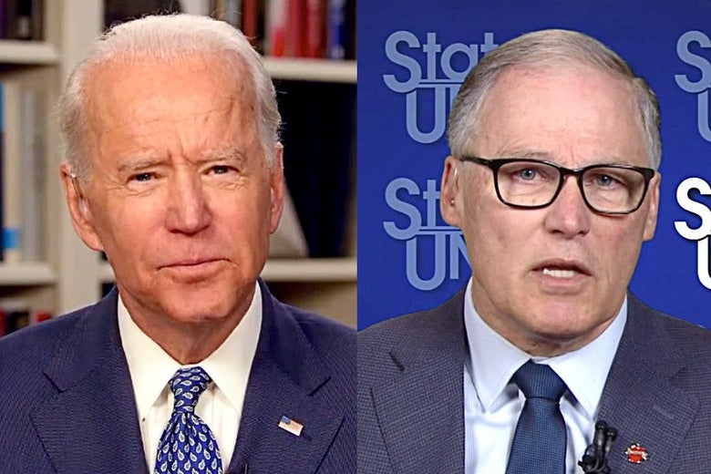 Biden and Inslee are seen side by side in close-up stills from TV appearances.
