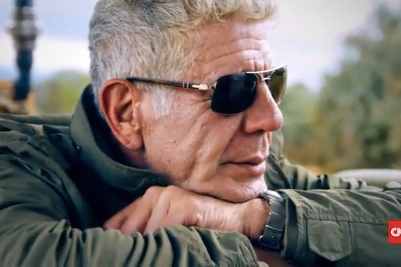 Anthony Bourdain, wearing sunglasses.