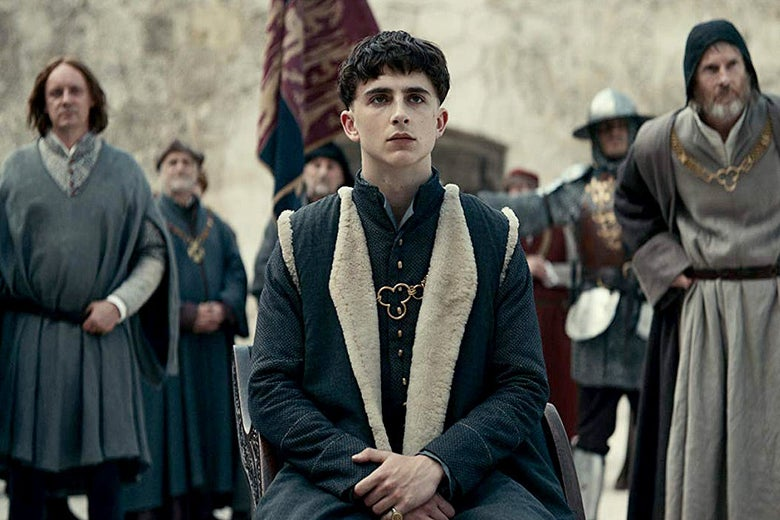 Timothée Chalamet in The King.