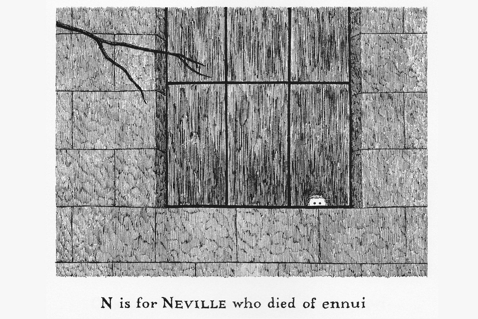 """N is for Neville who died of ennui"" panel from The Gashlycrumb Tinies."