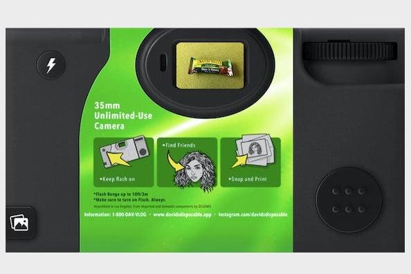 A screenshot of the David's Disposable, with a Nature Valley granola bar seen through the camera lens