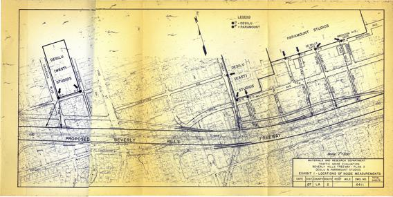 This traffic noise evaluation plan was put together in August 1967 to determine the projected noise impacts of the proposed Beverly Hills Freeway.