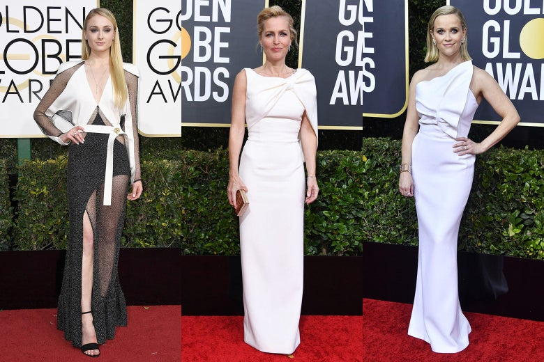 Sophie Turner, Gillian Anderson, and Reese Witherspoon pose on the 2020 Golden Globes red carpet.