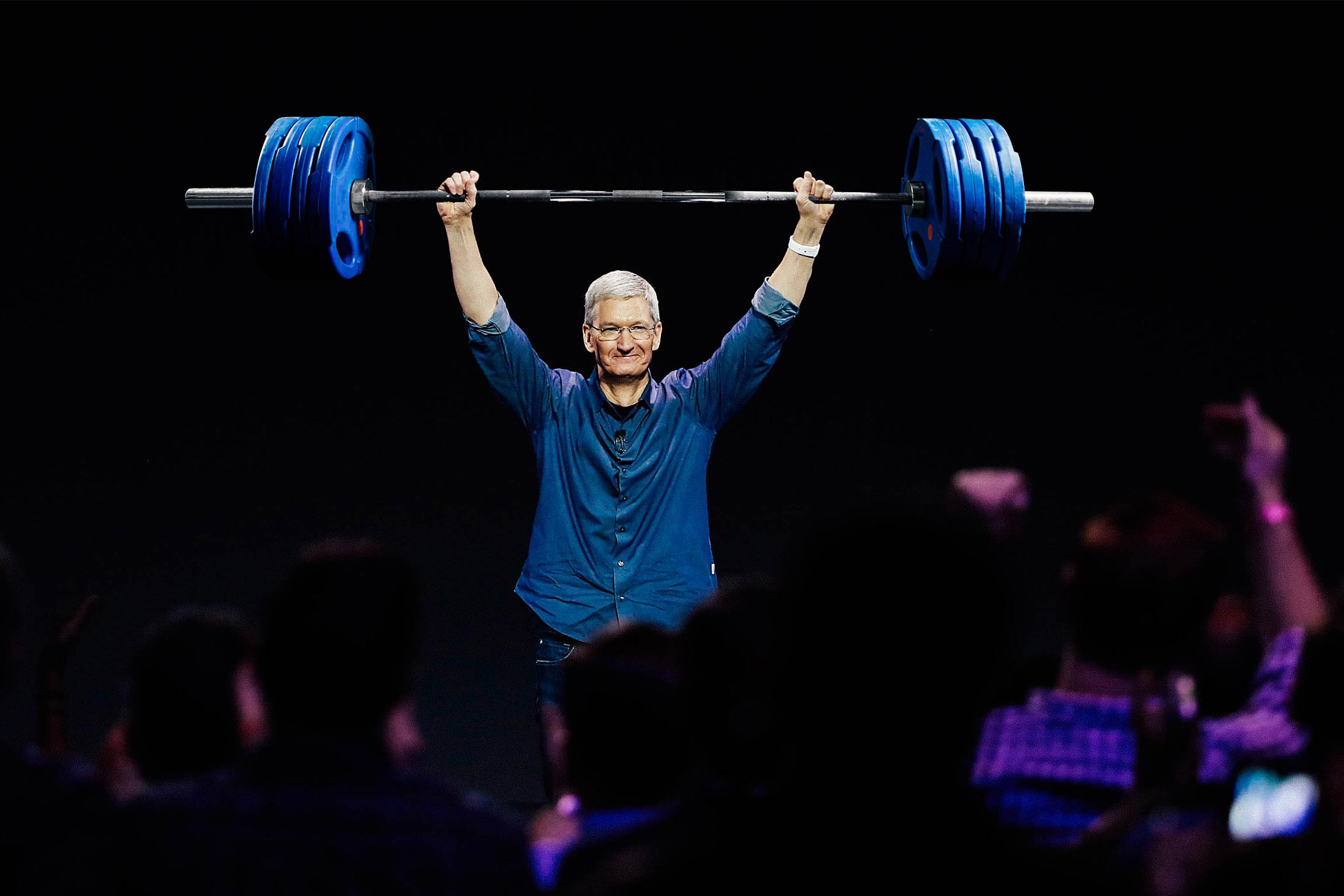 Photo illustration: Tim Cook lifting a barbell over his head at an Apple event.