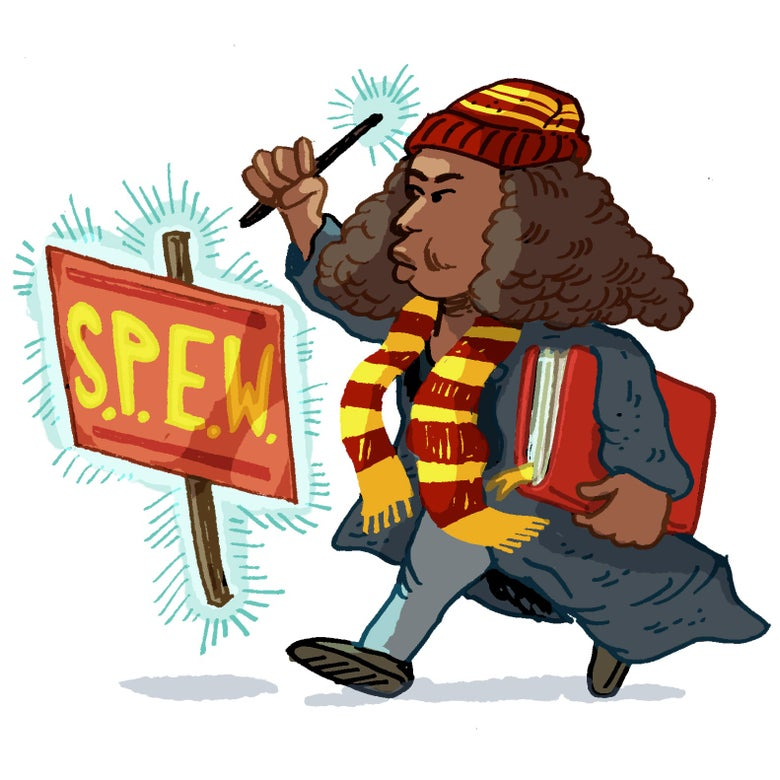 Illustration of Hermione Granger toting books and levitating a SPEW sign.
