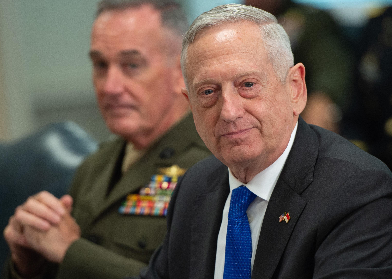 Secretary of Defense Jim Mattis in a meeting at the Pentagon.