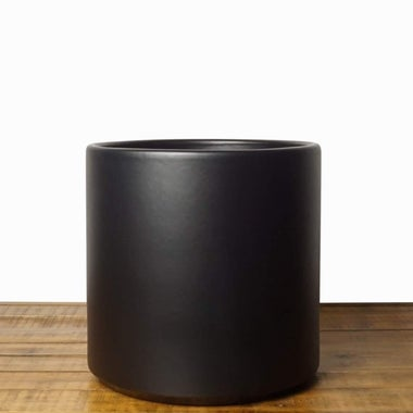"Peach & Pebble 6.5"" Ceramic Planter, Black."